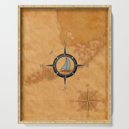 Sailboat And Compass Rose Serving Tray