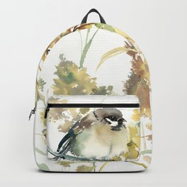 Sparrow and Dry Plants, fall foliage bird art bird design old fashion floral design Backpack