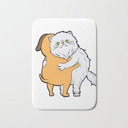 Persian Cat Hugging A Dog Perfect Gift for Cat Lovers A Persian Cat Tee T-shirt Design Kitty Bath Mat