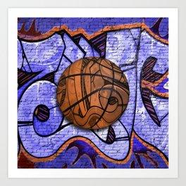 Purple Basketball Graffiti on Brick Wall Art Print