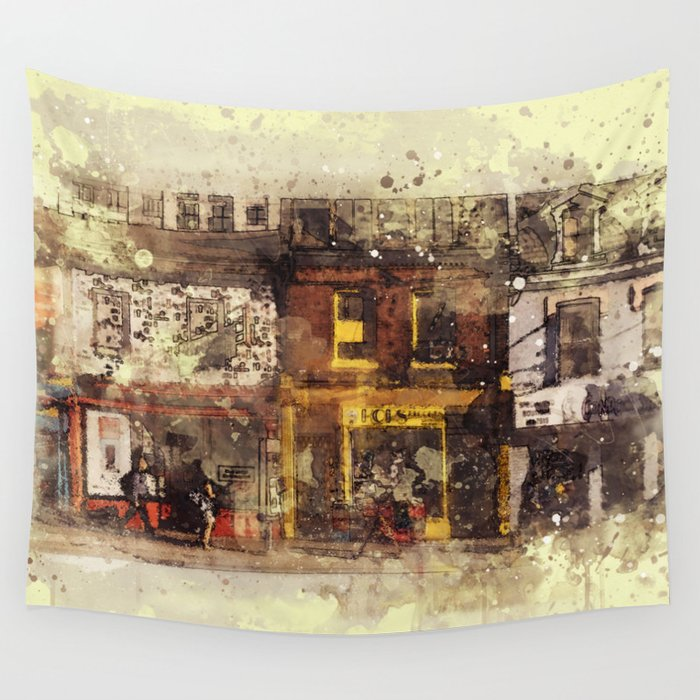 Nyc Brooklyn Soho Watercolor Painting Street Rustic Abstract Contemporary Wall Art Home Decor Tapestry By Reburndesigns