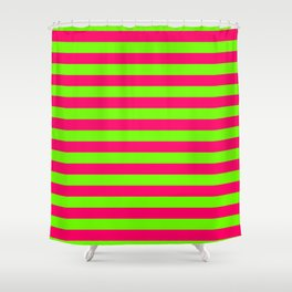 Super Bright Neon Pink and Green Horizontal Beach Hut Stripes Shower Curtain