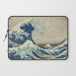 Brick Wall Painting Japanese Great Wave off Kanagawa - Urban Artist Laptop Sleeve