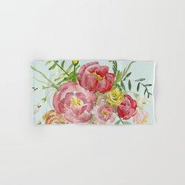 Bouquet of Spring Flowers Light Aqua Hand & Bath Towel