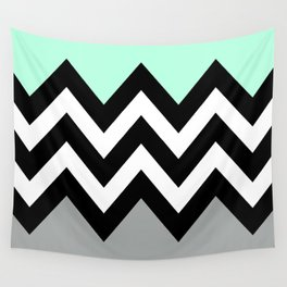 DOUBLE COLORBLOCK CHEVRON {MINT/BLACK/GRAY} Wall Tapestry