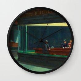 Nighthawks Painting Wall Clock