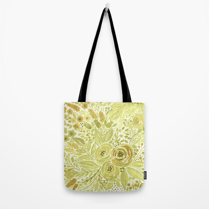 Watercolor . Yellow green bouquet . Tote Bag