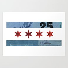 Ephemeral Chicago Flag Art Print
