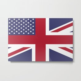 United States and The United Kingdom Flags United Forever Metal Print