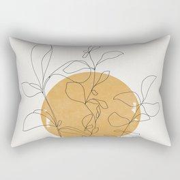 Yellow Sun and Flowers / Minimalist Line `Art  Rectangular Pillow