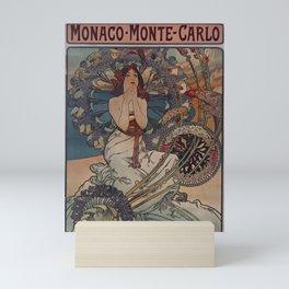 MONACO - Monte Carlo - Alphonse Mucha luxurious holidays poster Mini Art Print