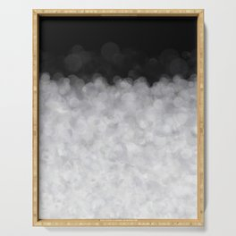 Snow Clouds in the Dark - Abstract Serving Tray