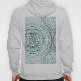 Teal & Blue Complexities - a Watercolor Tribal Pattern Hoody