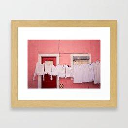 Pink House in Lisbon Framed Art Print