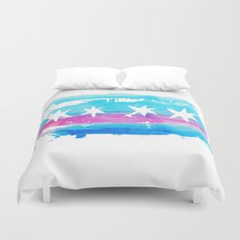 Chicago Flag Single Pull Duvet Cover