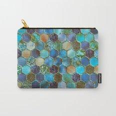 Blue & green metal glitter geometric hexagonal honeycomb pattern Carry-All Pouch
