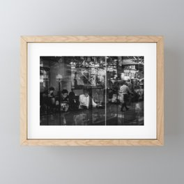 Fleeting Reflection. People Passing by and Their Everyday Lives. Street Photography. Framed Mini Art Print