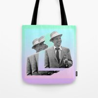 frank sinatra Tote Bags featuring frank by sebastian kainey