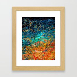 ETERNAL TIDE 2 Rainbow Ombre Ocean Waves Abstract Acrylic Painting Summer Colorful Beach Blue Orange Framed Art Print