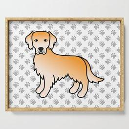 Yellow Golden Retriever Breed Dog Cute Cartoon Illustration Serving Tray