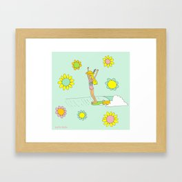 Surf Art Hang 10 Lady Slide Flower Power by Surfy Birdy Framed Art Print