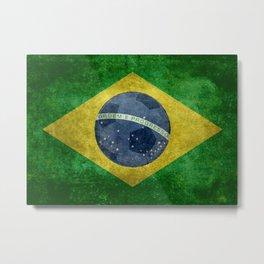 Flag of Brazil with football (soccer ball) retro style Metal Print