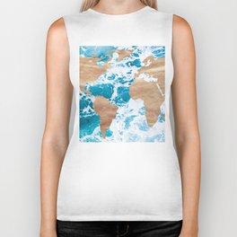 Ocean World Map Vintage Turquoise Sea Biker Tank