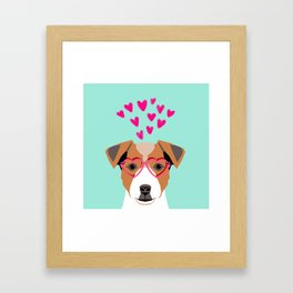 Jack Russell Terrier valentines day hearts love dog lover dog person gifts for valentine Framed Art Print