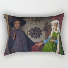 Bey and Jay Before Blue Rectangular Pillow