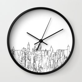 Glasgow, Scotland UK Skyline B&W - Thin Line Wall Clock