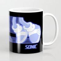 sonic Mugs featuring Sonic Moonwalker  by Rodrigo Marckezini