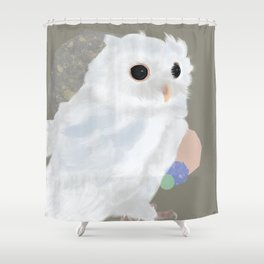 White Owl and Geometry Shower Curtain