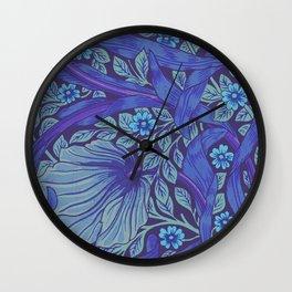 William Morris Indigo Forget Me Not Floral Art Nouveau Wall Clock