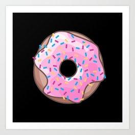 Pink Donut on Black Art Print
