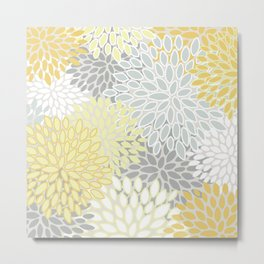 Floral Prints, Soft, Yellow and Gray, Modern Print Art Metal Print