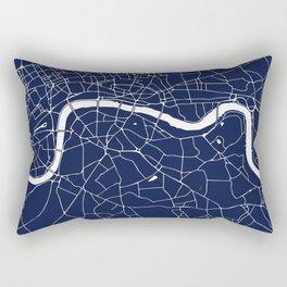 Navy on White London Street Map Rectangular Pillow