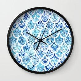 PAISLEY MERMAID Watercolor Scale Pattern Wall Clock