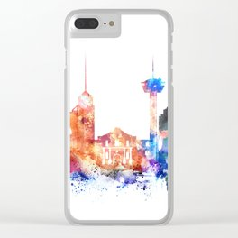 San Antonio Watercolor Skyline Clear iPhone Case