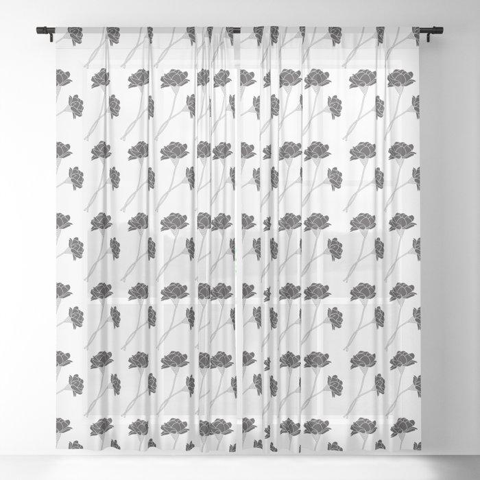 Flower Stems Sheer Curtain