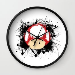 Abstract Paint Splatter Super Mushroom Wall Clock