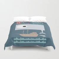 moby dick Duvet Covers featuring Essential of fairy tales (Moby-dick) by Seez