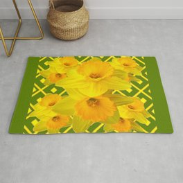 Moss Green Yellow Spring Daffodils Art Rug