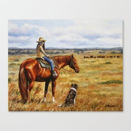 Young Cowgirl on Cattle Horse Canvas Print