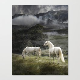White Stallions of the Gods Canvas Print