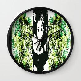 Geisha bamboo border Wall Clock