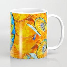 ORANGE & BLUE NAUTILUS ABSTRACT ART Coffee Mug