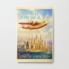 Vintage Travel Poster London New York Metal Print