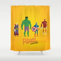 super heroes Shower Curtains featuring Super Heroes - Pixel Nostalgia by Boo! Studio