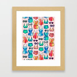 Sixties Swimsuits and Sunnies on blush pink Framed Art Print