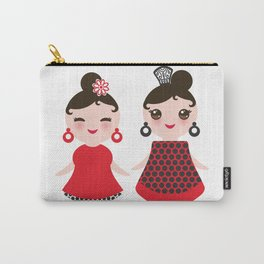 Spanish Woman flamenco dancer. Kawaii cute face with pink cheeks and winking eyes. Gipsy girl Carry-All Pouch